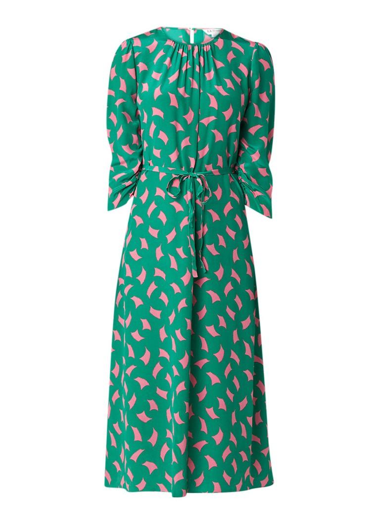 L.K.Bennett Dorothy midi-jurk van zijde met dessin flessengroen
