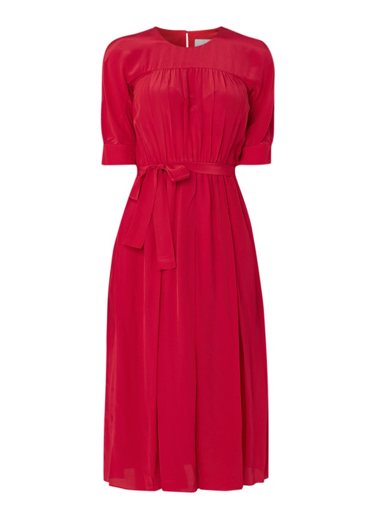 L.K.Bennett Reina midi-jurk in zijdeblend met plissé en strikceintuur rood