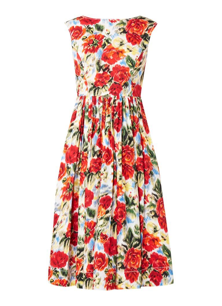 L.K.Bennett Isse Aline A-lijn jurk met bloemendessin rood