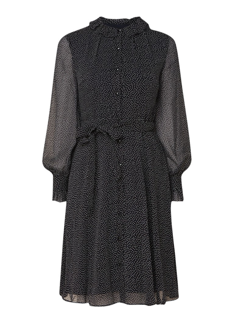 L.K.Bennett Eliza blousejurk met stippendessin en strikceintuur zwart