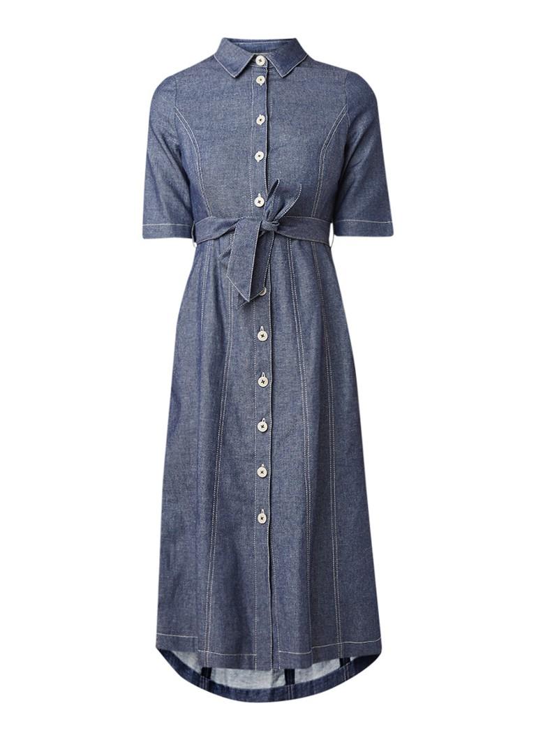 L.K.Bennett Suze blousejurk van denim met strikceintuur indigo