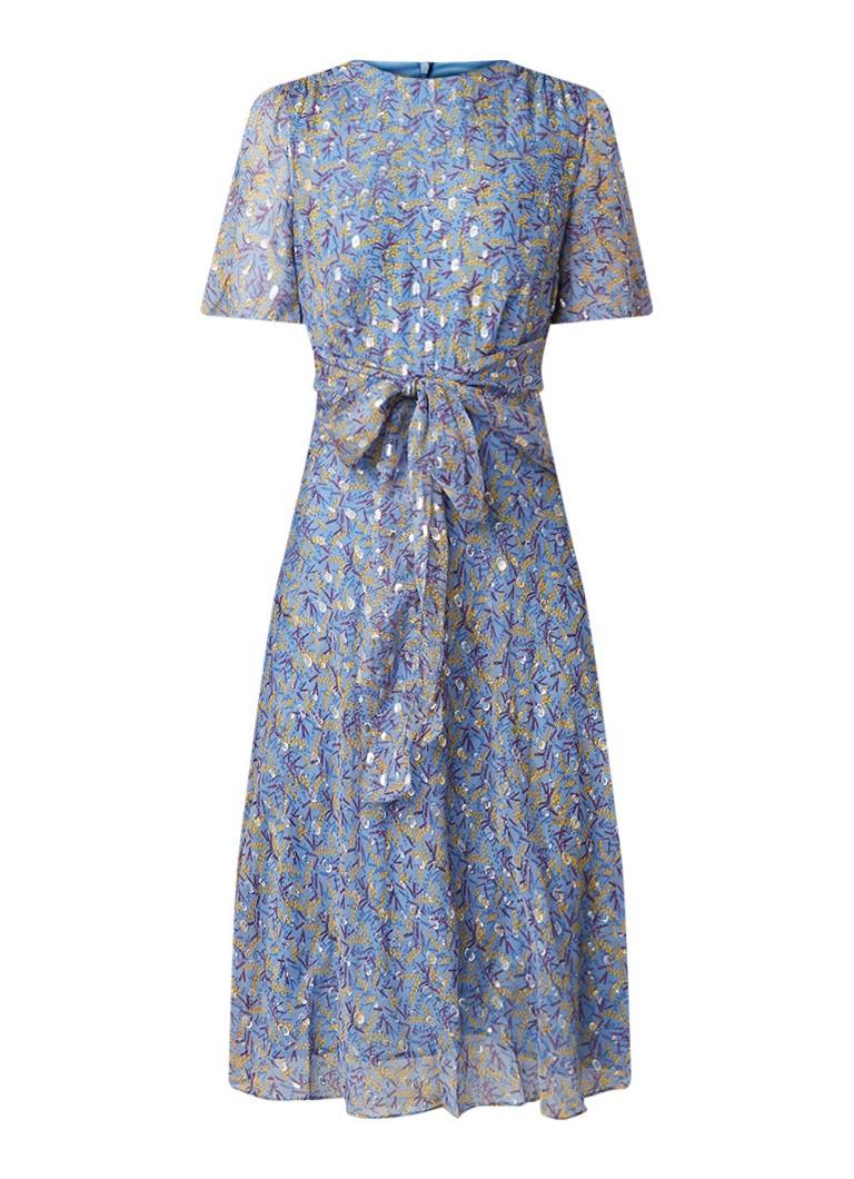 L.K.Bennett Eve A-lijn jurk van zijde met lurex en volantmouw staalblauw