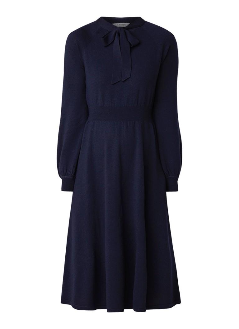 L.K.Bennett Carroll fijngebreide midi-jurk van merinowol donkerblauw