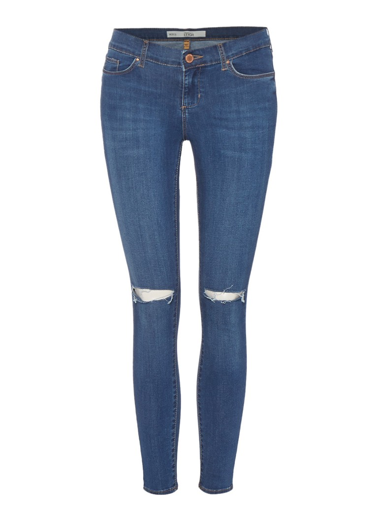 TOPSHOP Mid-rise waist Stretch 7 8 skinny jeans Leigh met damaged details