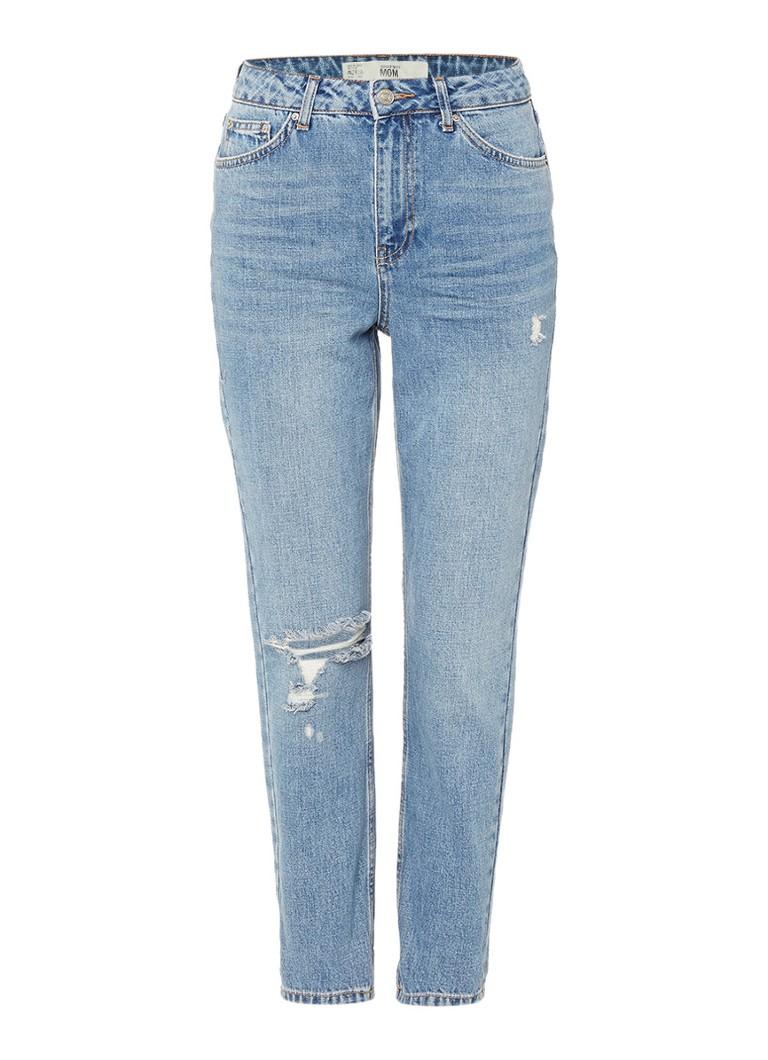 TOPSHOP High waisted mom jeans met destroyed details