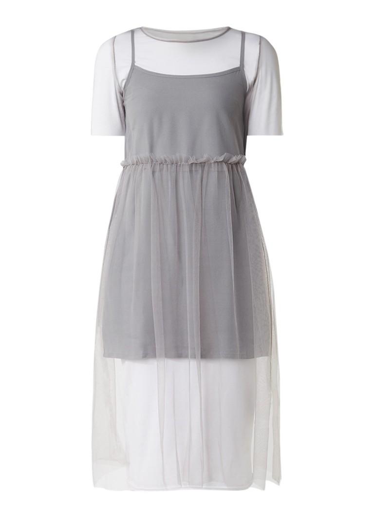 Topshop Midi-jurk met mesh overlay en ruches grijs