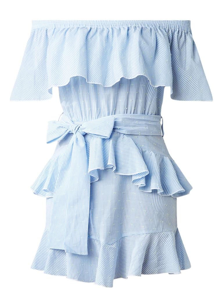 Topshop Off shoulder mini A-lijn jurk met volants lichtblauw