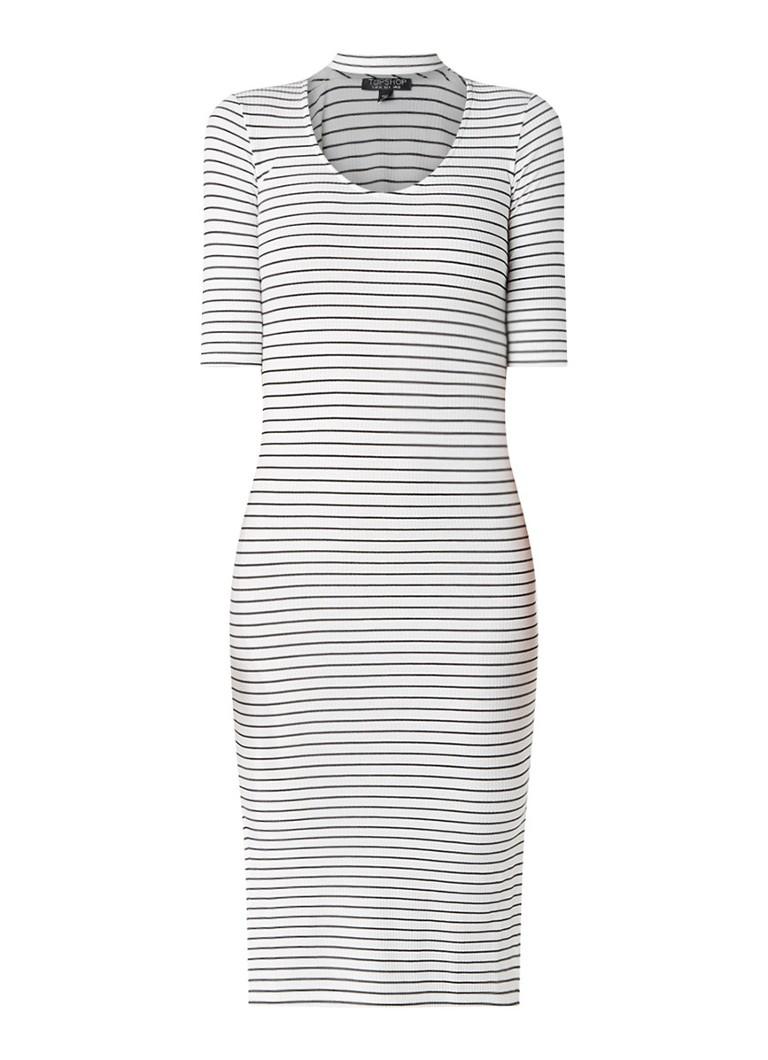 TOPSHOP Midi-jurk met streepdessin en choker