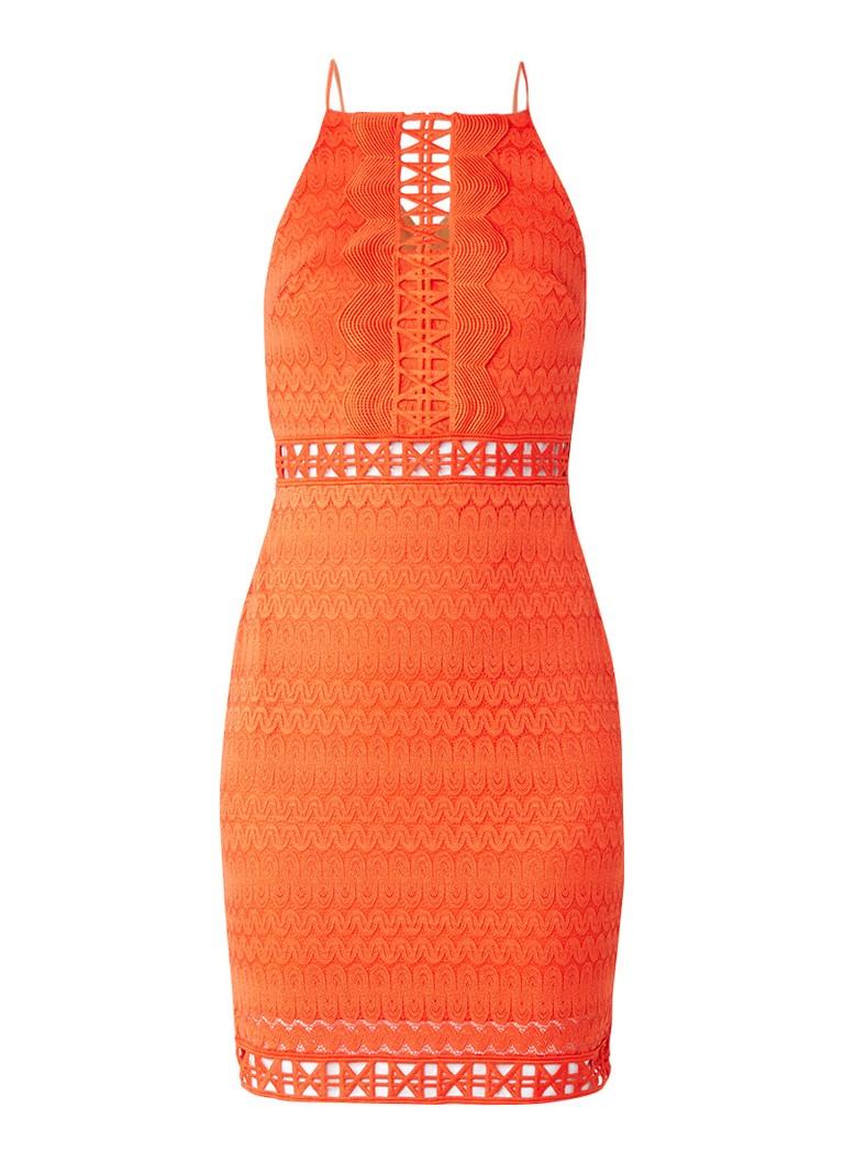 TOPSHOP Mini-jurk met ingeweven dessin en opengewerkte details