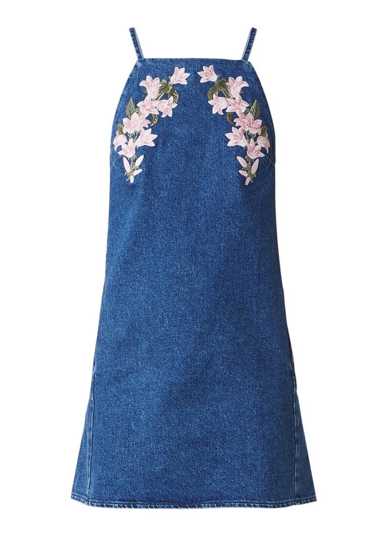 Topshop Spijkerjurk met borduring indigo