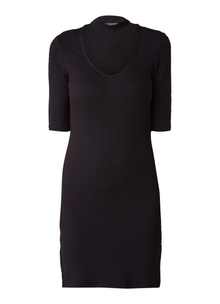 Topshop Ribgebreide jurk met choker-detail zwart