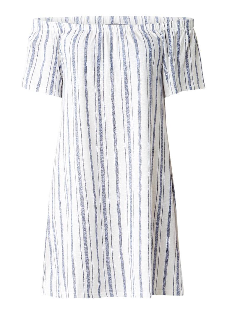 Topshop Off shoulder jurk in katoenblend met streepdessin blauw