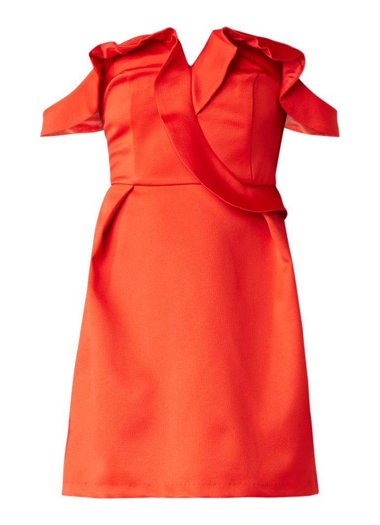 Topshop Off shoulder jurk met glanzende finish en volant rood