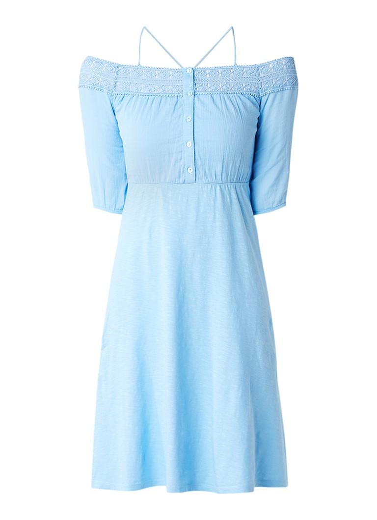 Topshop Off shoulder jurk met top met broderie lichtblauw