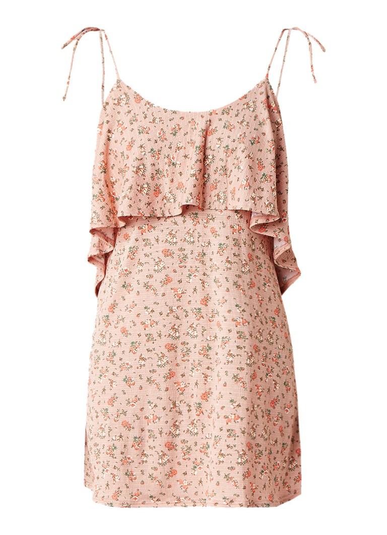 Topshop Mini-jurk met volant en gebloemd dessin perzikroze