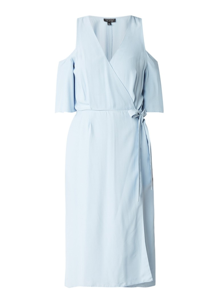 Topshop Cold shoulder crêpe wikkeljurk lichtblauw