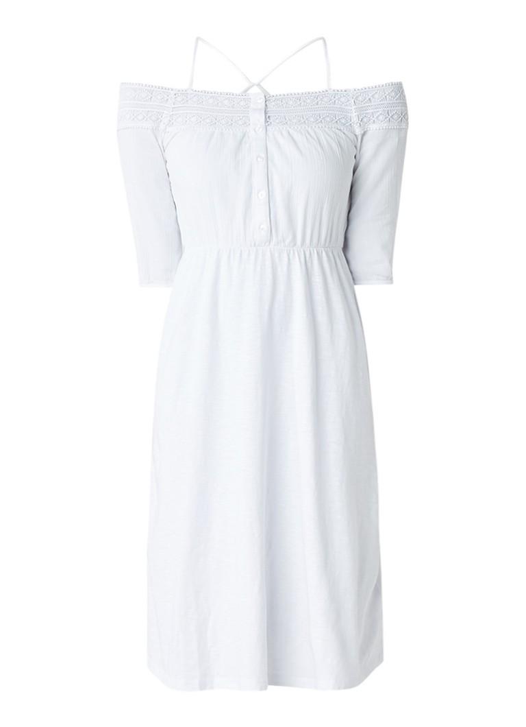Topshop Off shoulder jurk met top met broderie wit