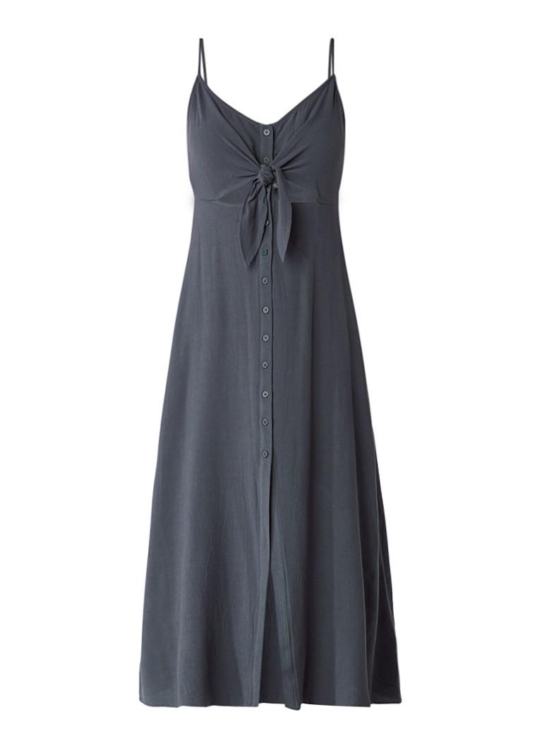 Topshop Molly midi-jurk met knoopdetail en cut-out middengrijs