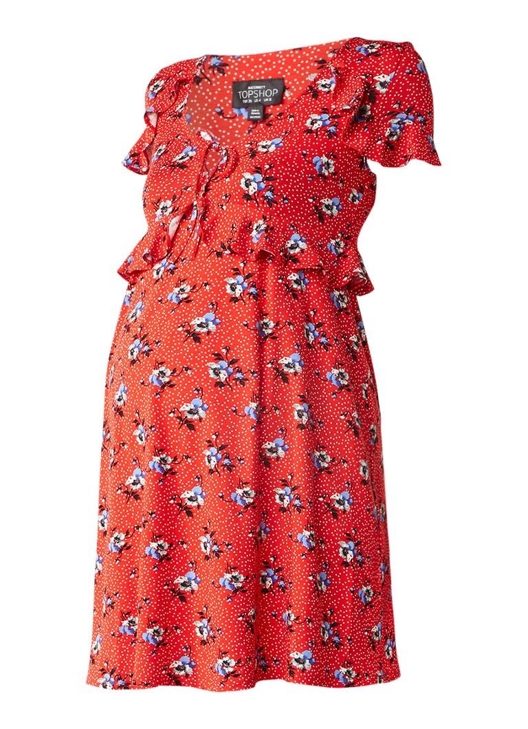 Topshop Zwangerschapsjurk van jersey met stippen- en bloemendessin rood