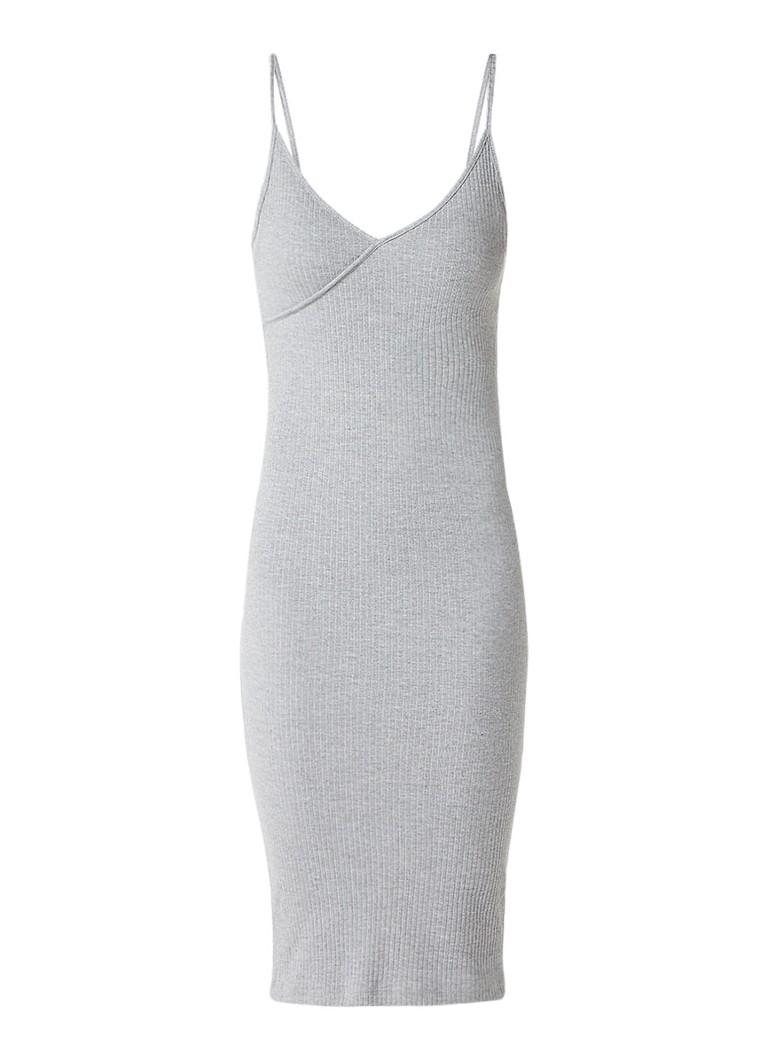 Topshop Ribgebreide midi-jurk grijs