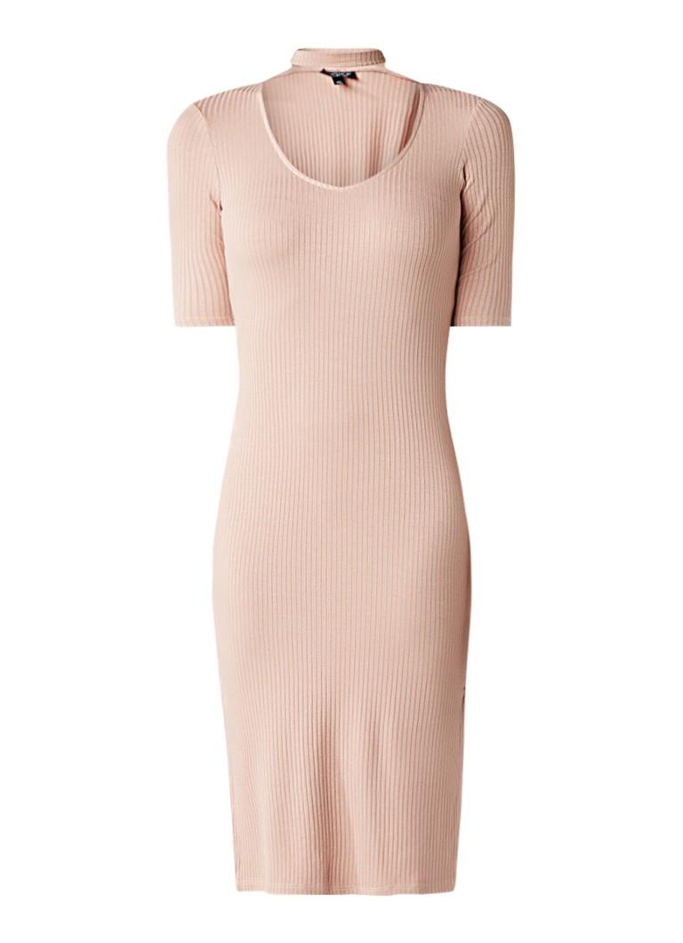 Topshop Ribgebreide midi-jurk met choker oudroze