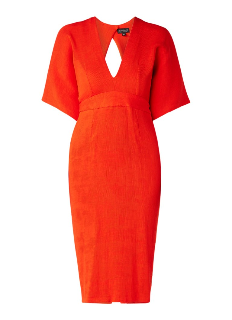 Topshop Midi-jurk met ribstructuur en rugdecolleté rood