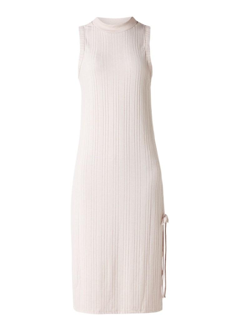 Topshop Ribgebreide midi-jurk met zijsplit oudroze