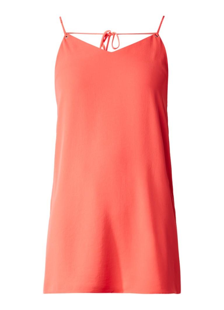 Topshop Korte jurk met V-hals en strikdetail op achterpand koraalrood