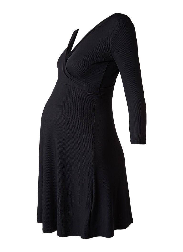 Topshop Ribgebreide zwangerschapsjurk met overslag zwart