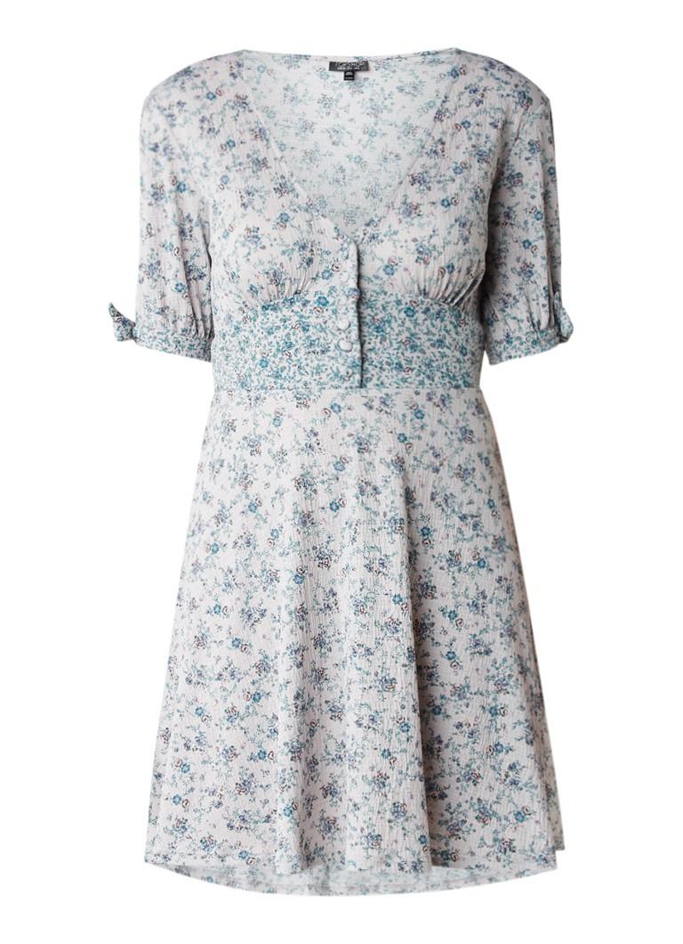 Topshop Cold shoulder jurk met bloemdessin lichtgrijs