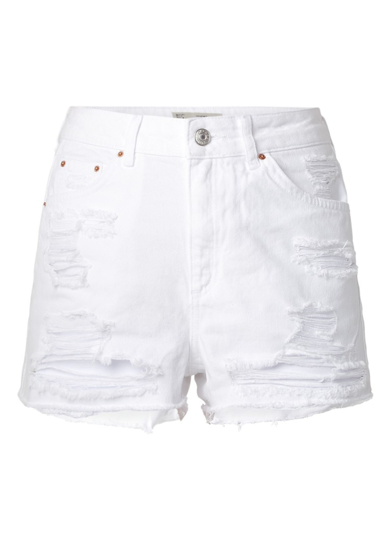 TOPSHOP Mom high rise destroyed denim shorts