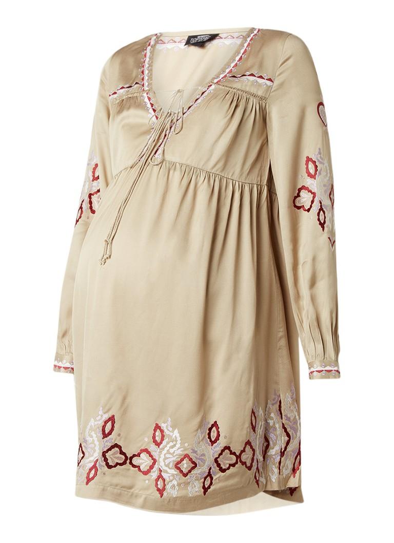 Topshop Zwangerschapsjurk met veterhals en borduring khaki