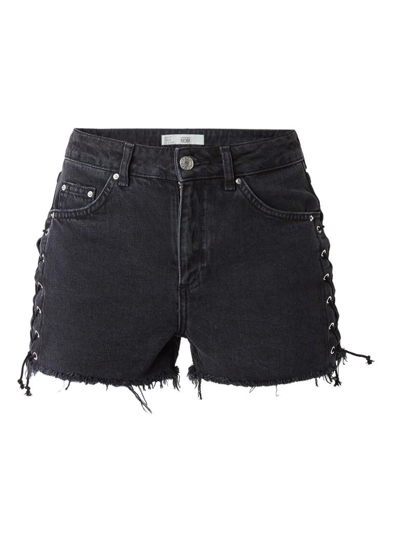 TOPSHOP High rise mom denim shorts met rijgdetail