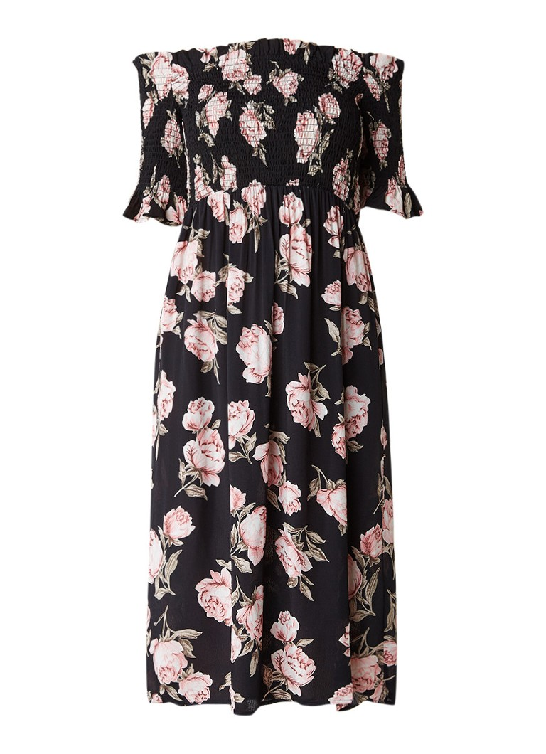 Topshop Off shoulder jurk met gesmockte details zwart