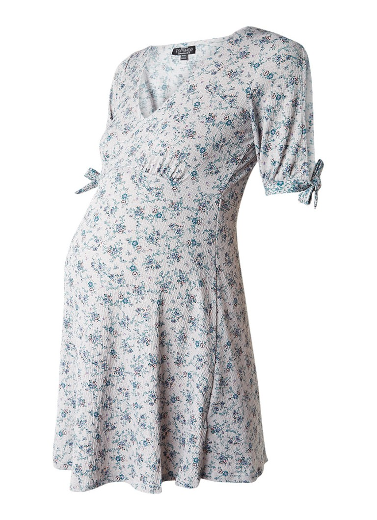 Topshop Ditsy zwangerschapsjurk met cold shoulder lichtgrijs