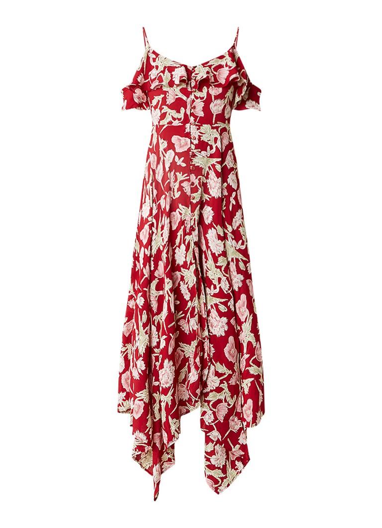 Topshop Crêpe cold shoulder maxi jurk met bloemdessin rood