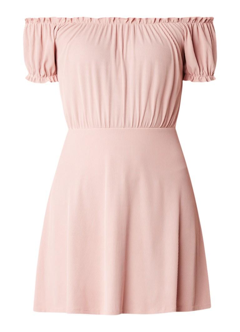 Topshop Off shoulder mini A-lijn jurk lichtroze