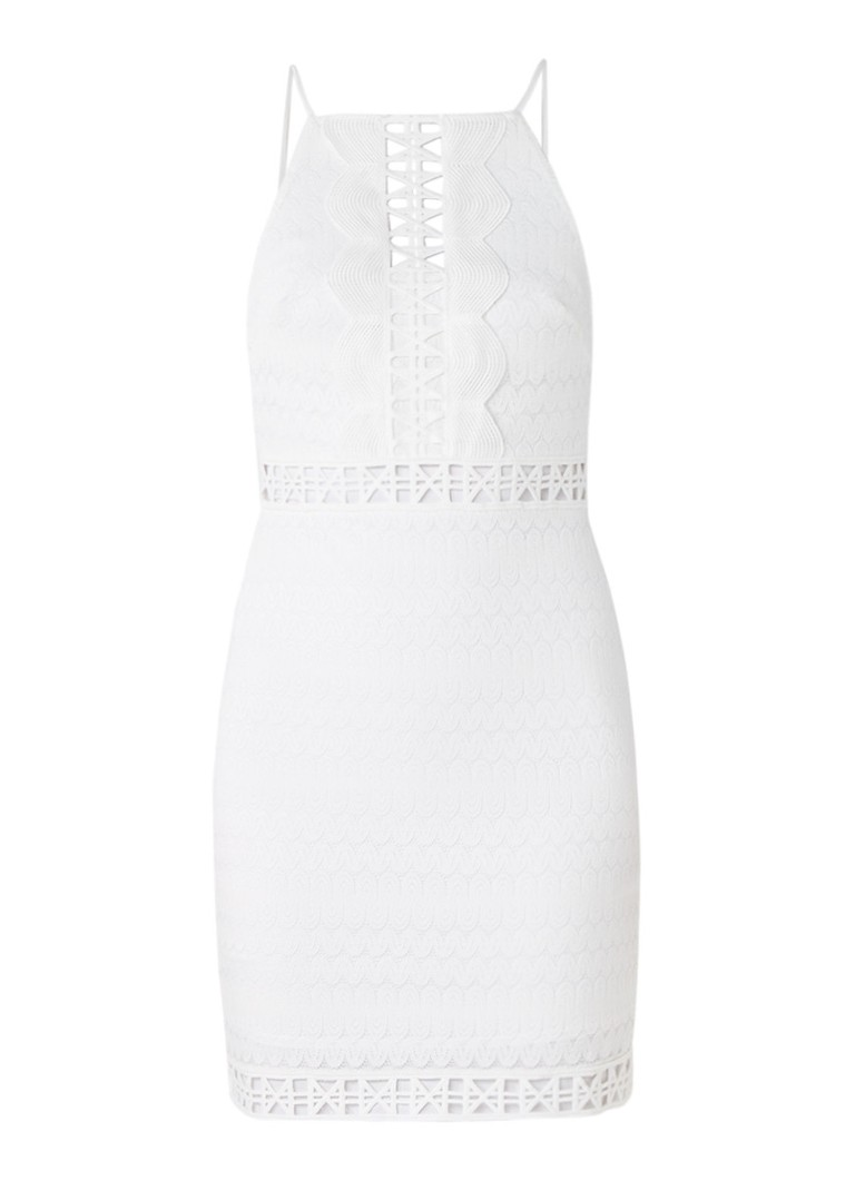 Topshop Mini-jurk van kant met broderie gebroken wit