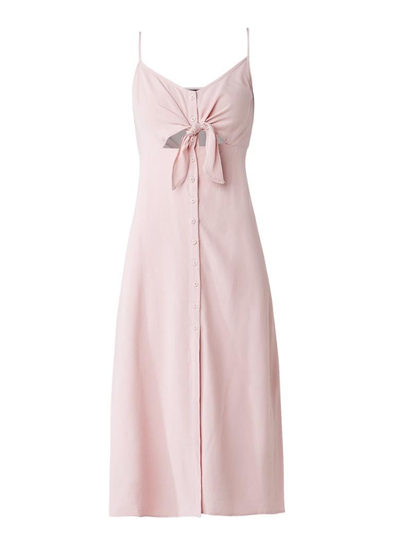 Topshop Molly jurk met knoop en cut-out detail lichtroze