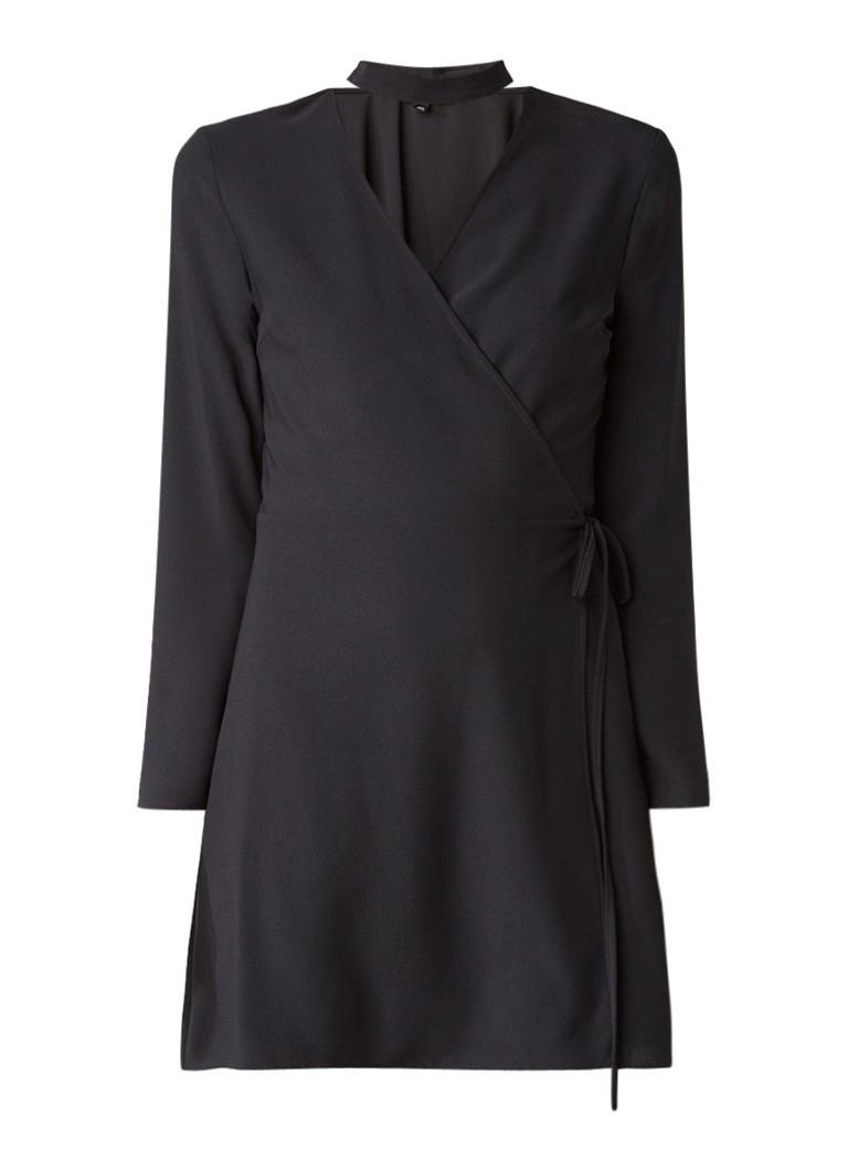 Topshop Mini-jurk met overslag en choker zwart