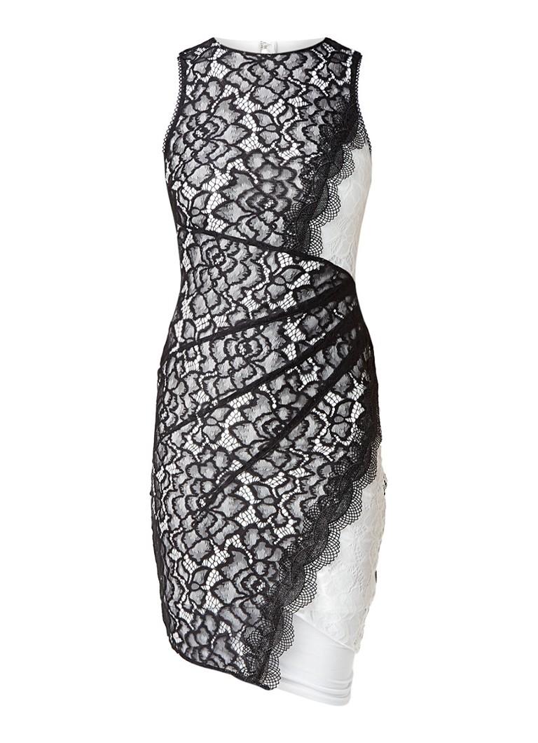 Topshop Kokerjurk met asymmetrische overlay van kant zwart