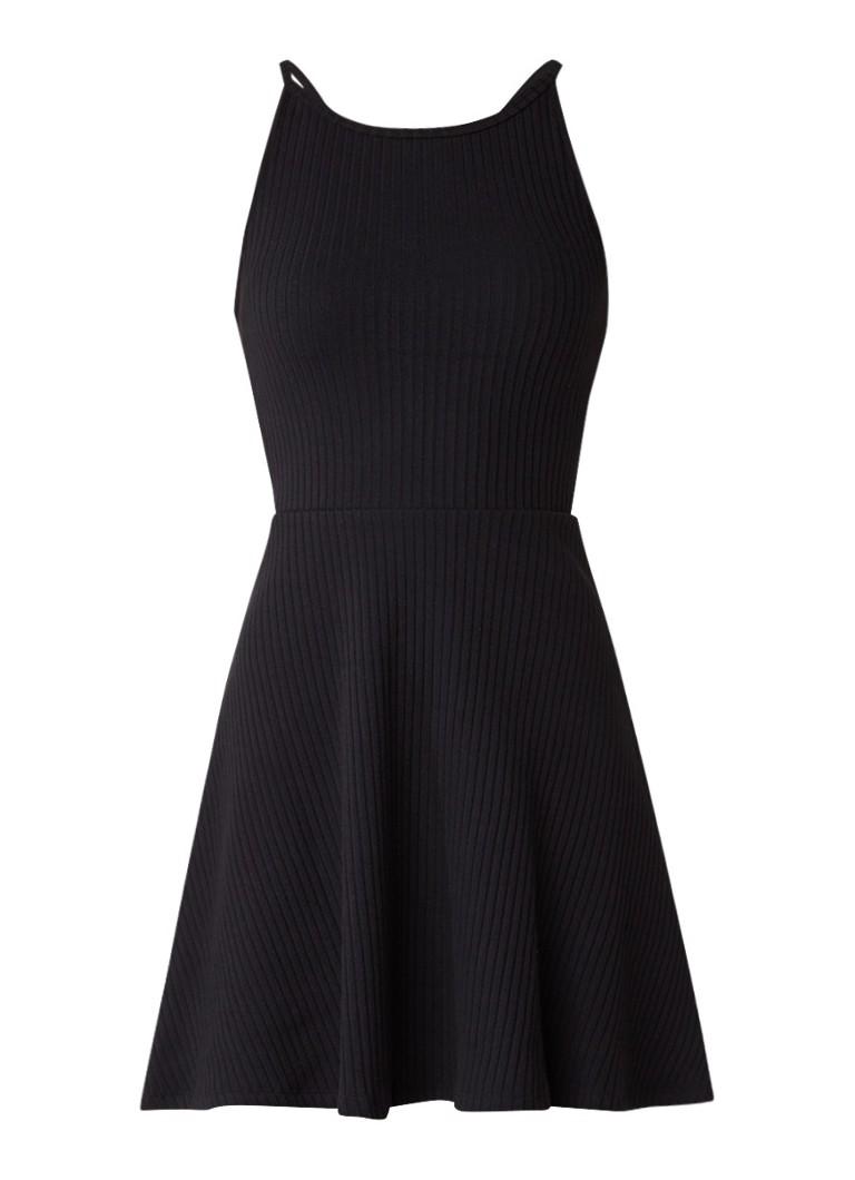 Topshop Ribgebreide mini-jurk met cut-out detail zwart