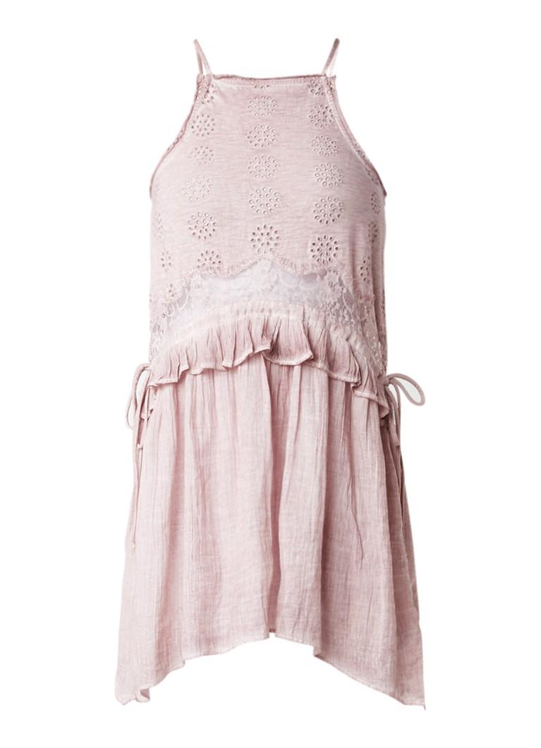 Topshop Washed jurk met volant en inzet van kant oudroze