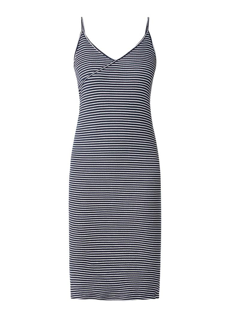 Topshop Kaia gestreepte midi-jurk met ribstructuur donkerblauw
