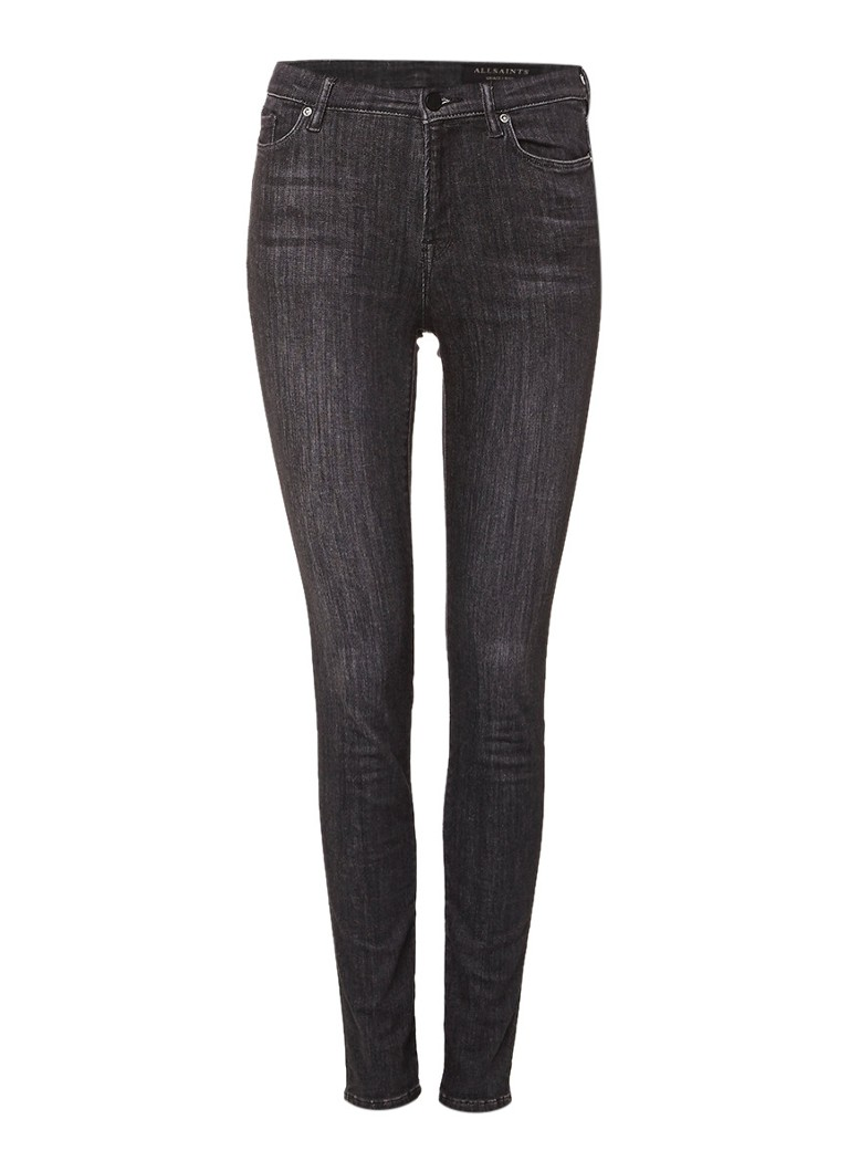 AllSaints Grace mid rise skinny jeans met faded look