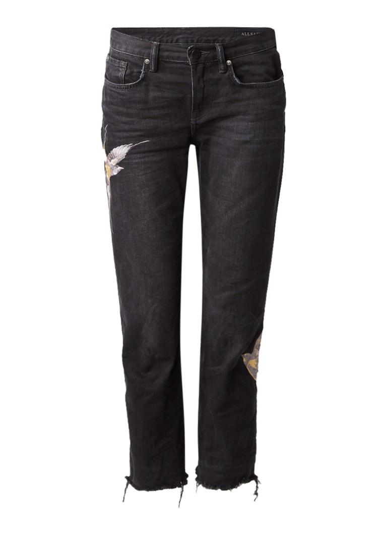ALLSAINTS Birds low rise 7 8 boyfriend jeans met geborduurde vogels