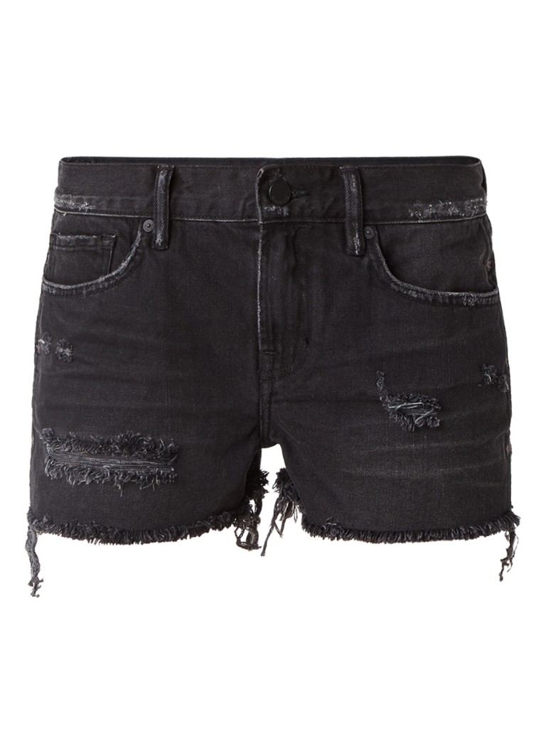 ALLSAINTS Serene high rise destroyed jeans shorts met sterborduring