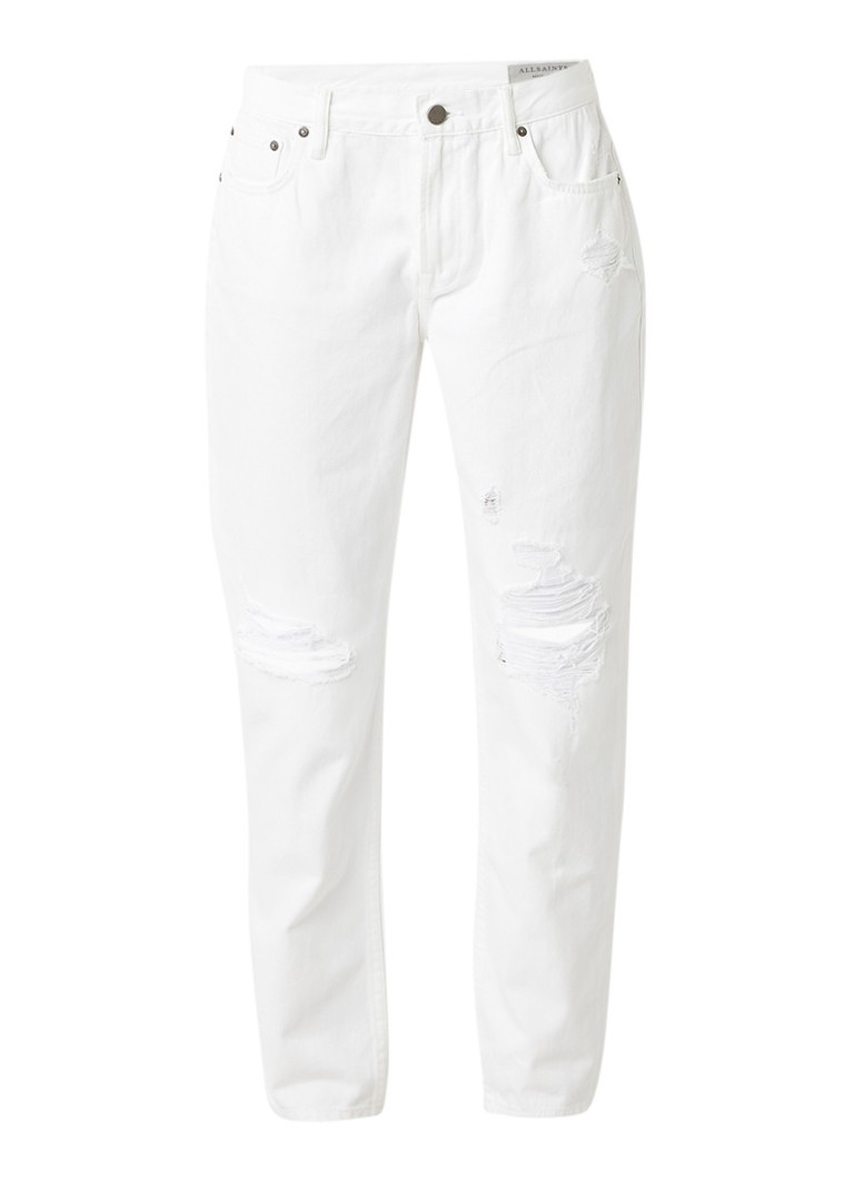ALLSAINTS Muse high rise slim fit jeans met destroyed details