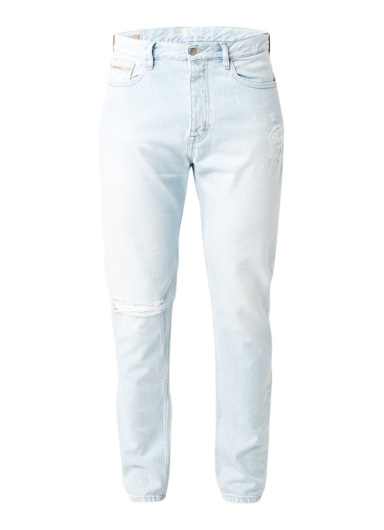 Calvin Klein Regular tapered fit jeans met verfspatten en destroyed look