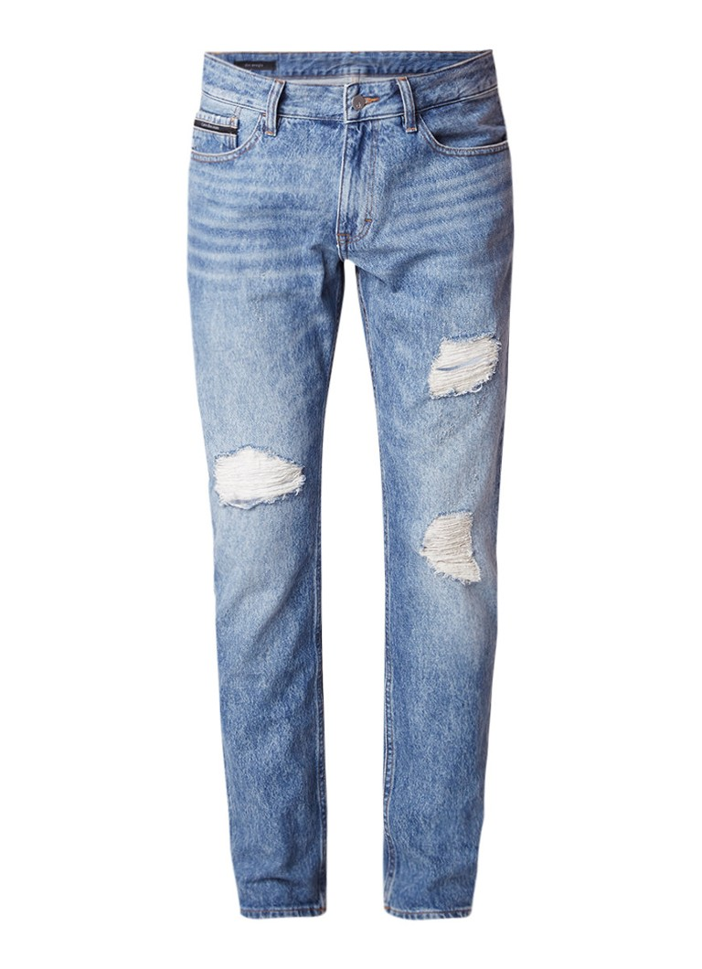 Calvin Klein Slim straight fit jeans met destroyed afwerking